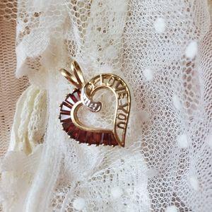 Jewelry - 10k gold Garnet I Love You Necklace January Gem